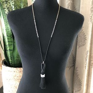 Baublebar Sugarfix Gold Black Long Tassel Necklace